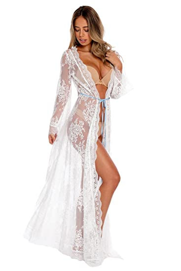98c4c6f3d6 Aporei Lace Kimono for Bride - White Sheer Long Robe - Lingerie Coverup –  Small
