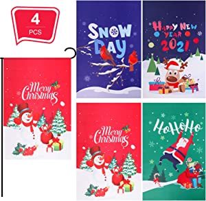 Tatuo 4 Pieces Christmas Garden Flag Seasonal Garden Signs Xmas Outdoor Flag Sign Happy New Year Winter Holidays Flag Double-Sided Signs Yard Garden Flag, 11.8 x 17.7 Inches