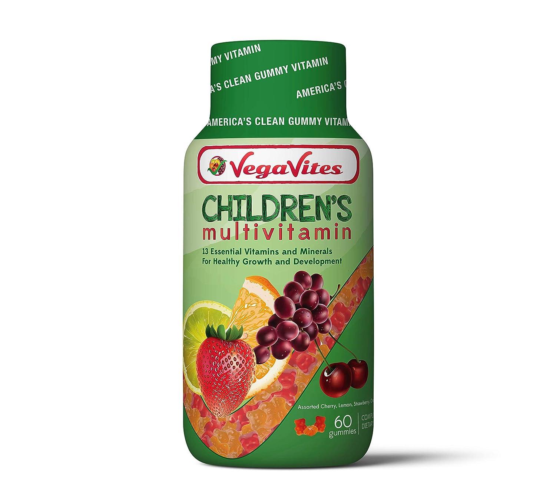 VegaVites Gummy Children's Multivitamin – The Clean Vitamin! – Vegetarian, Halal & Kosher - 13 Essential Vitamins and Minerals - Non GMO, Gluten Free & Gelatin Free (60 Count)