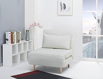 Poltrona letto como rivestimento in fintapelle bianco amazon