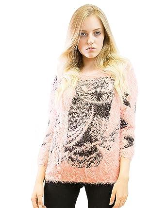 b2788eb84f0ae9 Lady's Knitted Fluffy bird of Minerva Animal Print Long Jumper Top Knitwear