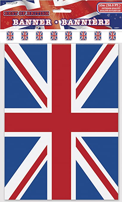 Red White Blue 7m Pennant Triangle Street Party Bunting 25 Flags Union Jack Flag