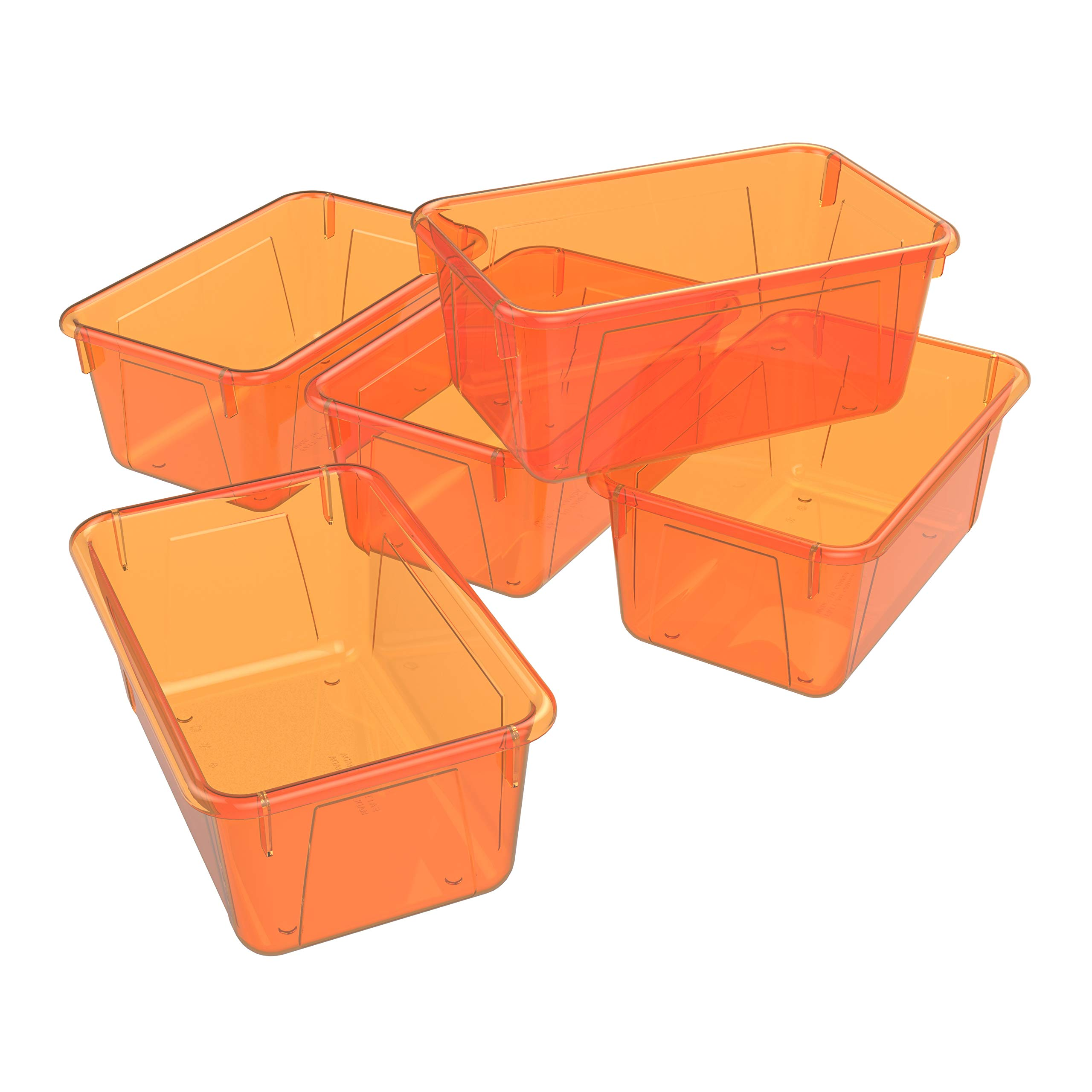 Storex Small Cubby Bin, 12.2 x 7.8 x 5.1 Inches, Candy Orange, 5-Pack (62479U05C)