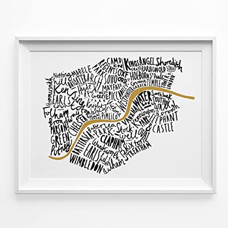Illustrated Map of London print A4 Black and Gold typographic