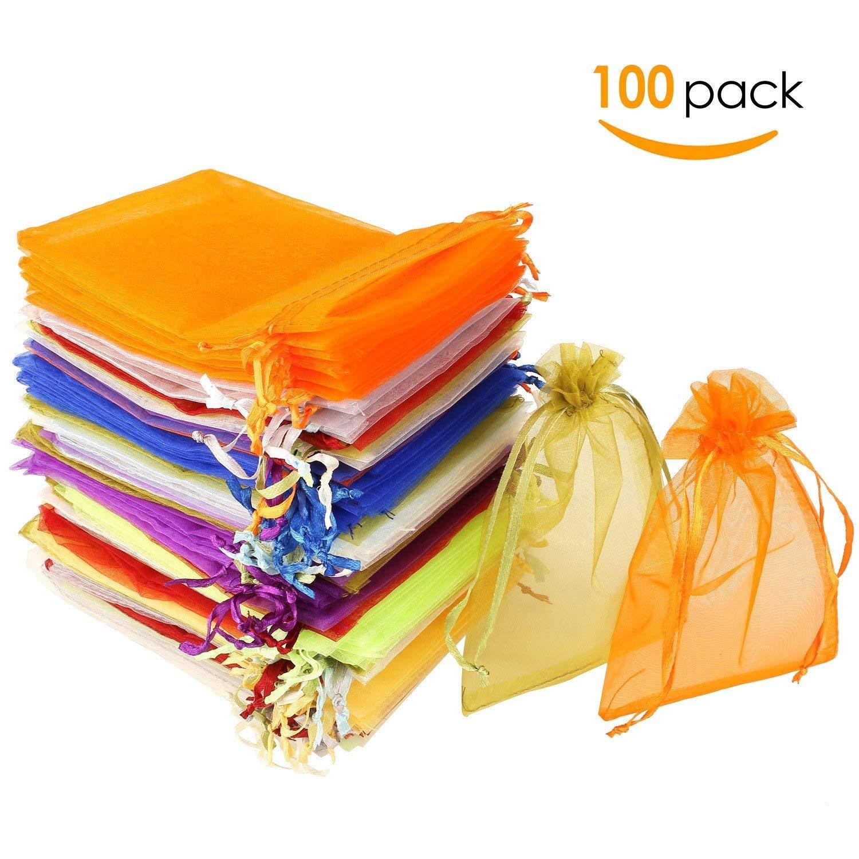 MVPOWER 100pcs de Blosa de Organza de 10 Colores Bolsillos Multicolores con Cordón para Regalos Joyería Cosméticos Festivales Bodas Fiestas 10 x 15cm