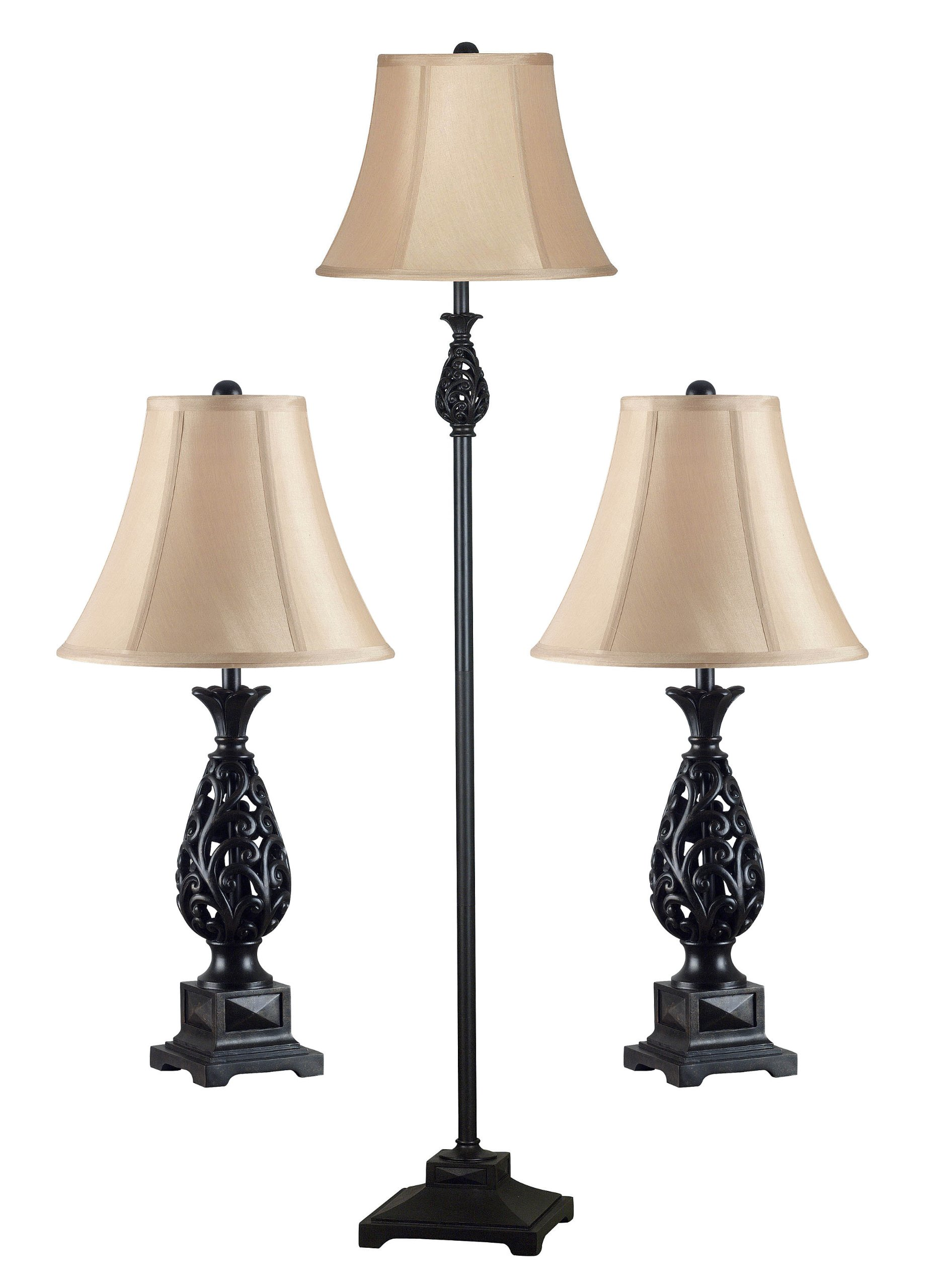 Kenroy Home 21017GFBR Prescott Table and Floor Lamp, 3 Pack, Golden Flecked Bronze