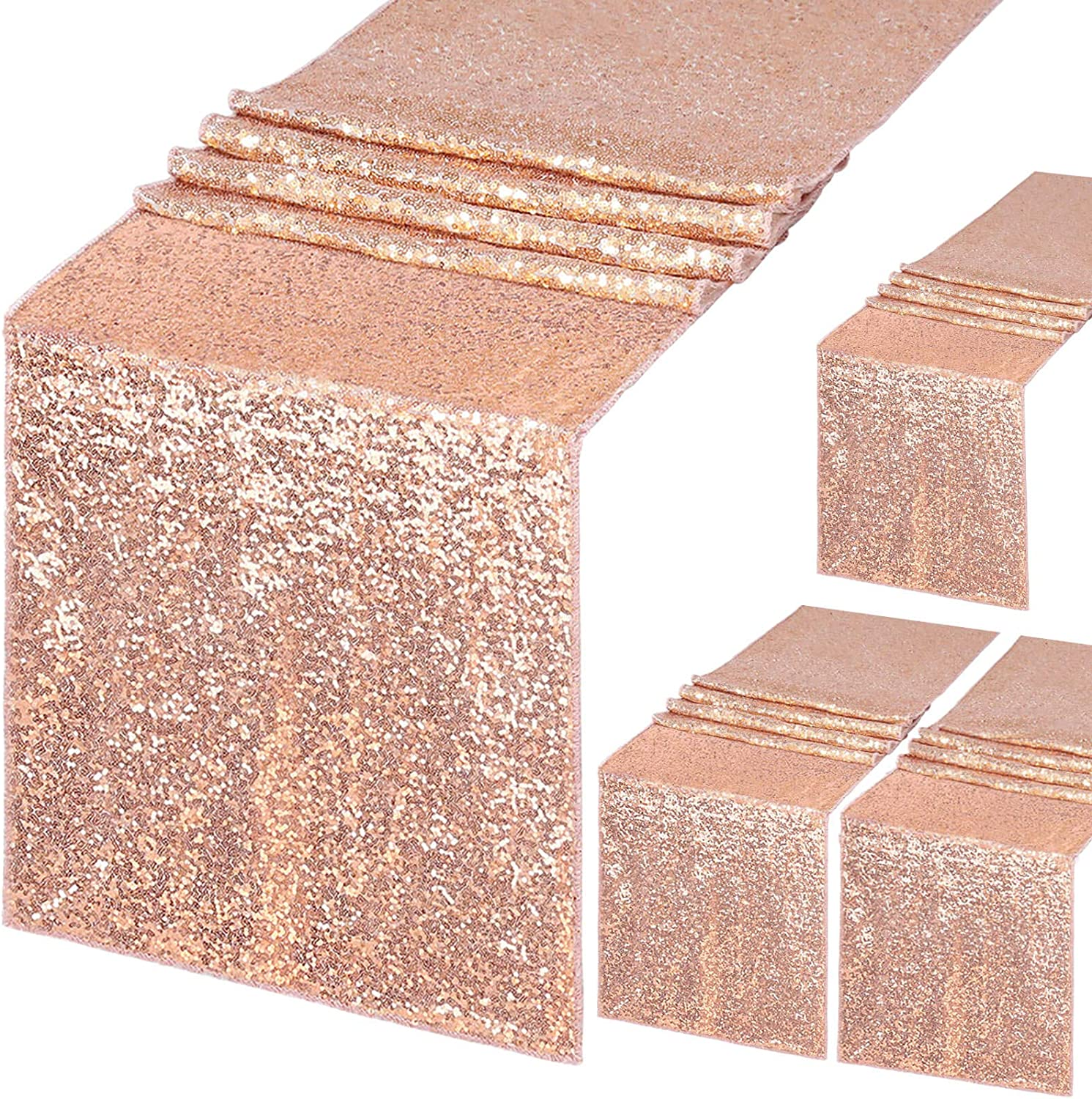 B-COOL 4 Pack Sequin Table Runner 12x72 Inch Wedding Rose Gold Runner for Rectangle Tables Sequin Glitter Party Decorations