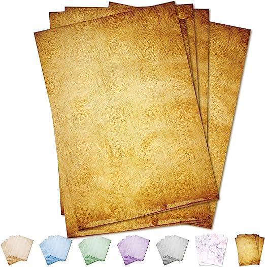 Partycards Papeterie Vintage Papier à Lettre 50 Feuilles Marron Format Din A4 21 0 X 29 7 Cm 90 G M Grammage Imprimé Recto Verso