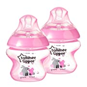 Tommee Tippee Closer to Nature Decorated Bottle, Pink, 5 Ounce (Pack of 2)