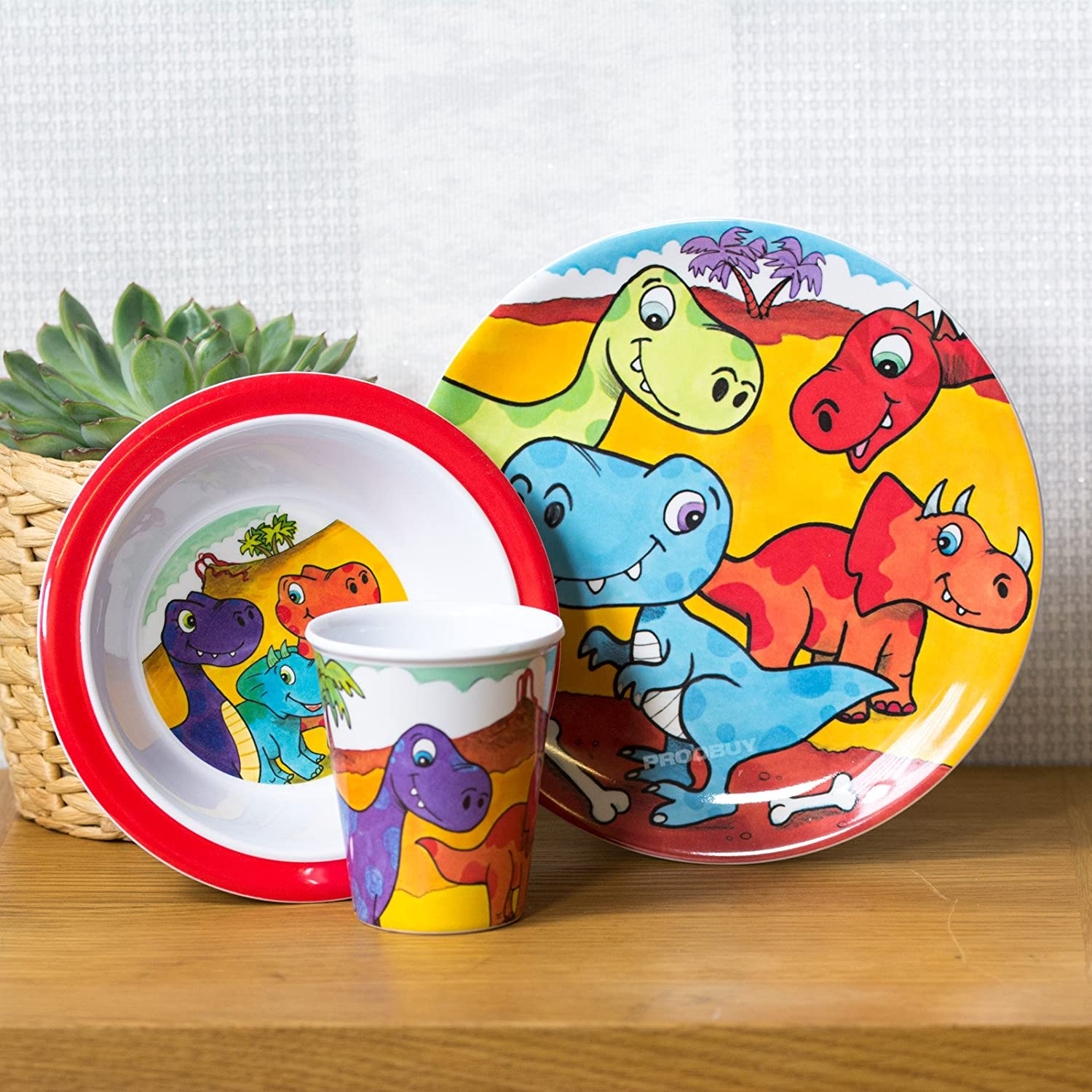 3 Piece Childrens Melamine Dinner Set - Dinosaurs ProdBuy Limited