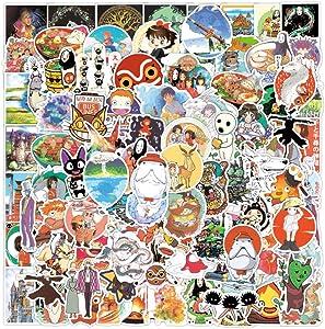 100Pcs Studio Ghibli Stickers, Miyazaki Hayao Animation Film Theme Anime Stickers Decals for Laptop Hydro Flask Water Bottle Guitar Skateboard Luggage Bike Bumper