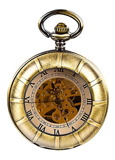 Carrie Hughes Vintage Double Hunter Steampunk Skeleton Mechanical Pocket Watch with Chain (CHPW16)