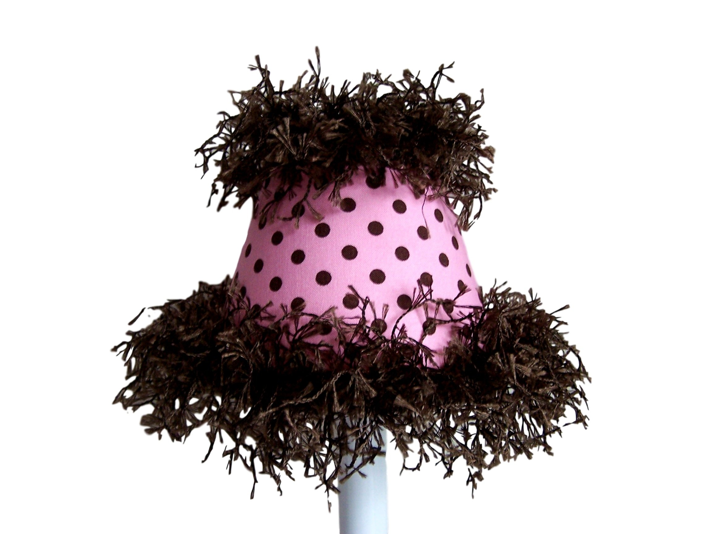 Silly Bear Lighting Polka Dot Power Chandelier Shade, Pink/Brown