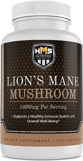 Lion's Mane Mushroom - HMS Nutrition - Potent 1000mg Capsules Non-GMO Vegan Supplement