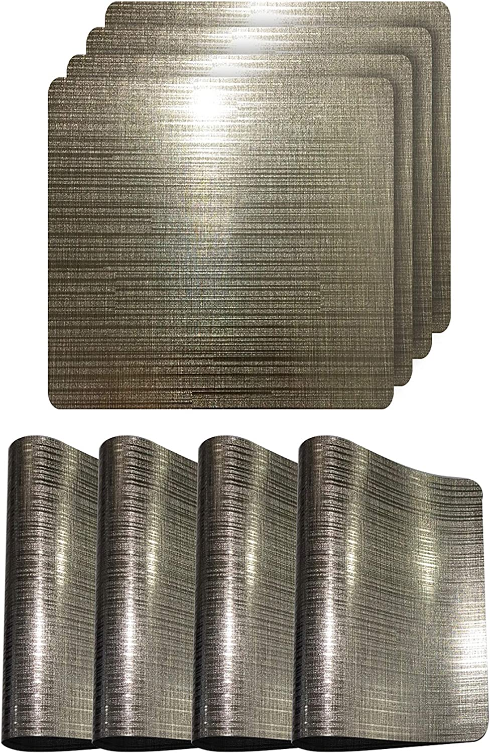 Dainty Home Reversible Emery Smooth Metallic Stripes Dining Table Indoor Outdoor Placemats Set of 4, 15 inch Square, Linear Striations Coffee