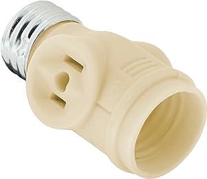 GE L Adapter, Add Bulb, 2 Prong Polarized Outlets, Medium Base Socket, Use in Workshop, Garage or Utility Room, UL Listed, Light Almond, 54178, Almpnd