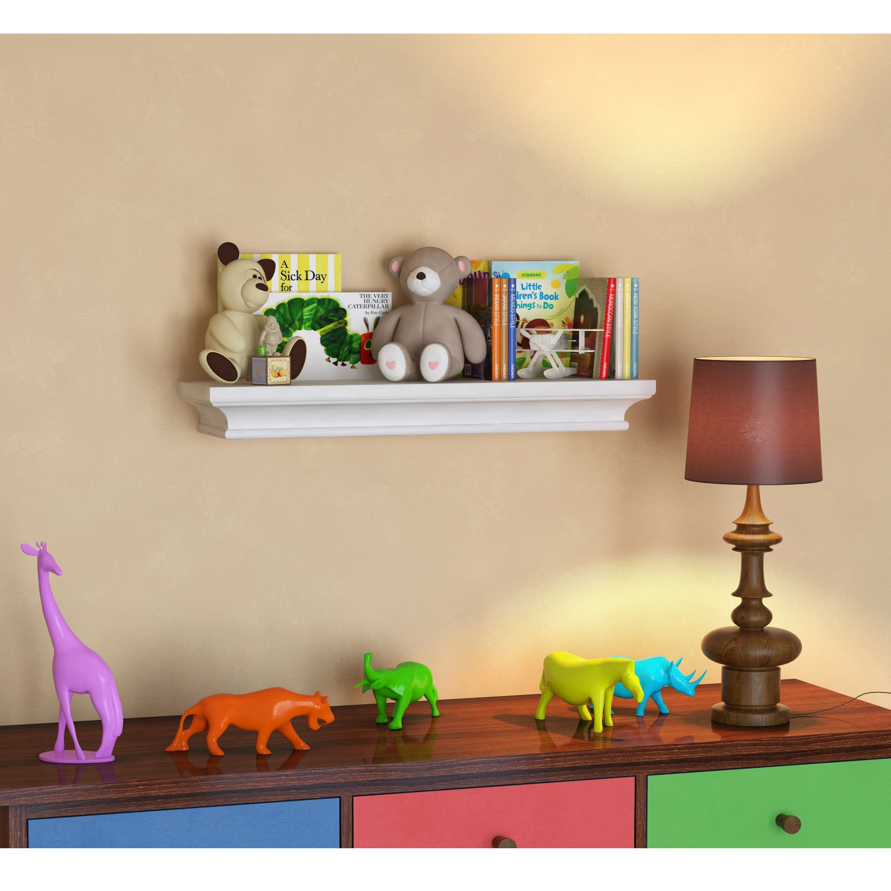 BGT White Traditional Kids Room Wall Shelf 24 x 6 Inches Children's Stylish Floating Ledge Shelf