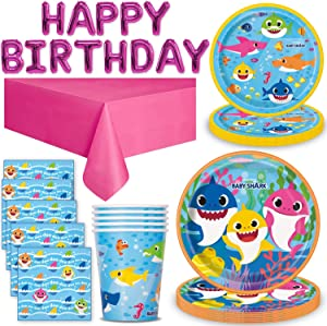 Baby Shark Party Supplies (Pink) for 16 - Large Plates, Dessert Plates, Napkins, Cups, Happy Birthday Balloon Banner (16 inch letters), Table cover - Great PinkFong Decorative Birthday Tableware Set