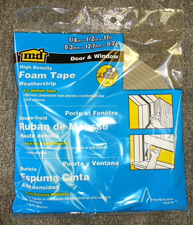 """02279 M-D Gray Foam Cell WEATHER STRIPPING TAPE SELF ADHESIVE 1//4/""""x1//2/""""x17/' New"""