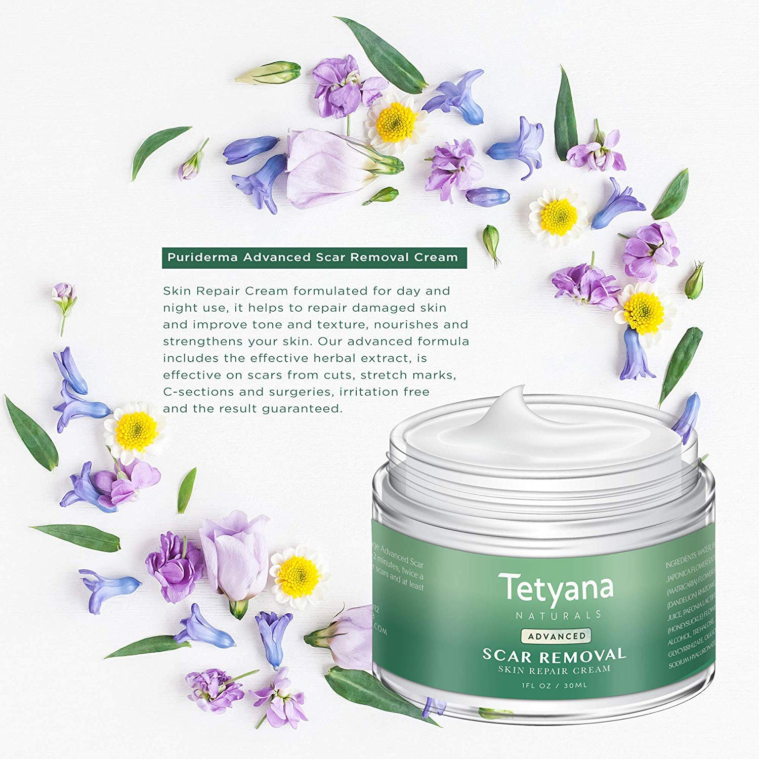 Tetyana naturals Scar Removal with Cream Natural Herbal Extracts Formula for Face & Body Old & New Scars from Cuts Stretch Marks, C-Sections & Surgeries (30ml 1pack) by Neutrogena (Image #5)