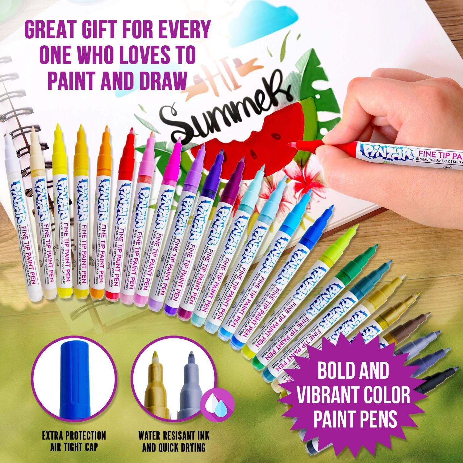 PINTAR - Acrylic Fine Tip Paint Pens For Rock Painting Art - 24 Pack Vibrant Colors for Wood, Glass, Metal and Ceramic - Water Resistant and Quick Drying Ink For Arts & Crafts by PINTAR (Image #5)