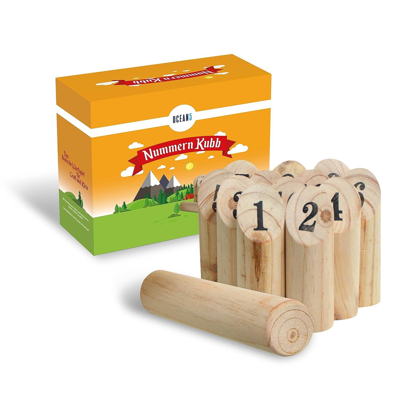 Ocean5 - Nummern Kubb - Das Zahlen Wurfspiel für Draußen - Holz-Kegel Wikinger Spiel aus Skandinavien - Das Geschicklichkeitsspiel für Den Sommer 3S GmbH & Co. KG