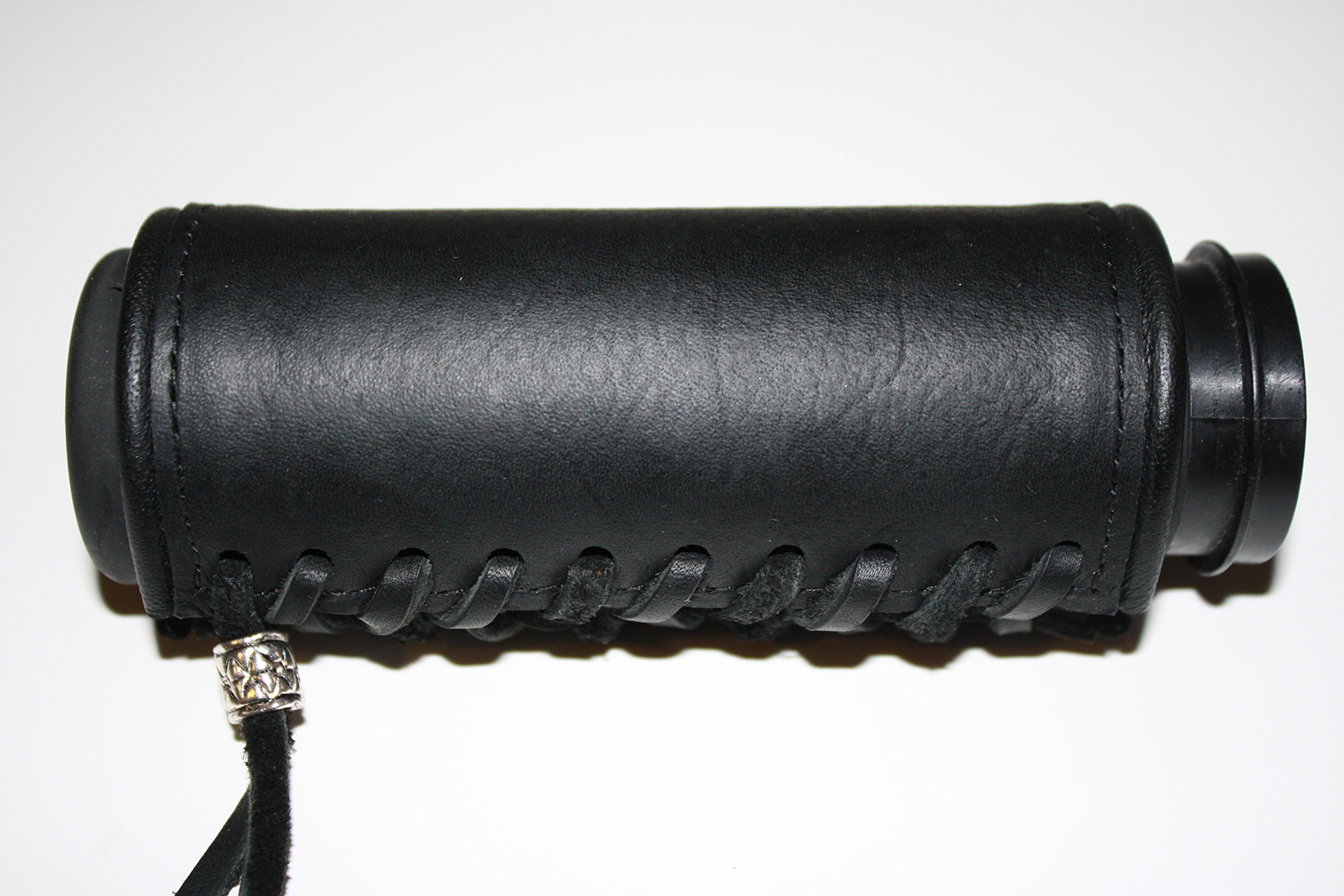 Deluxe Leather Black Padded Vibration Dampening Leather Motorcycle Grip Covers for Hd Motorcycles