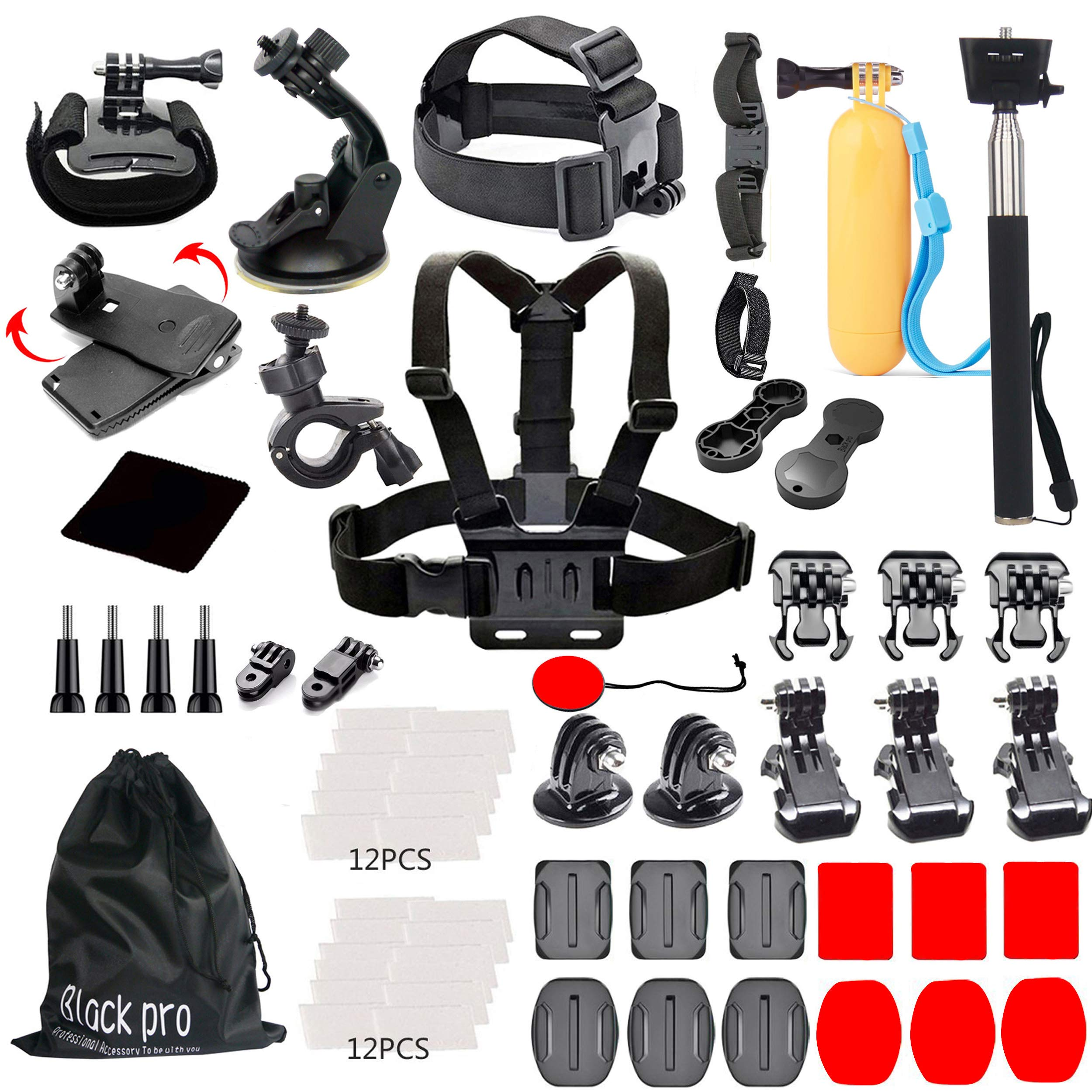 Black Pro Basic Common Outdoor Sports Kit for GoPro Hero 6/GoPro Fusion/HERO 5/Session5/4/3+/3/2/1 SJ4000/5000/6000/AKASO/APEMAN/DBPOWER/And Sony Sports DV and More by Black pro