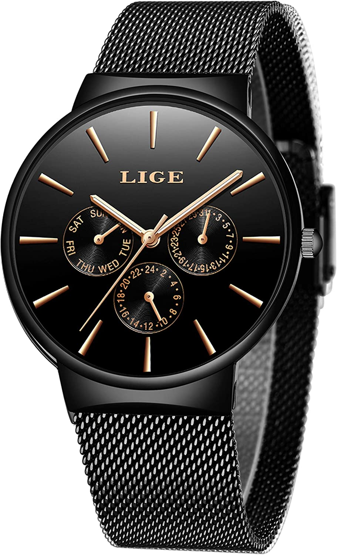 LIGE Relojes Hombres Moda Negro Acero Inoxidable Malla Impermeable Deportes Cuarzo Analógico Reloj Hombre