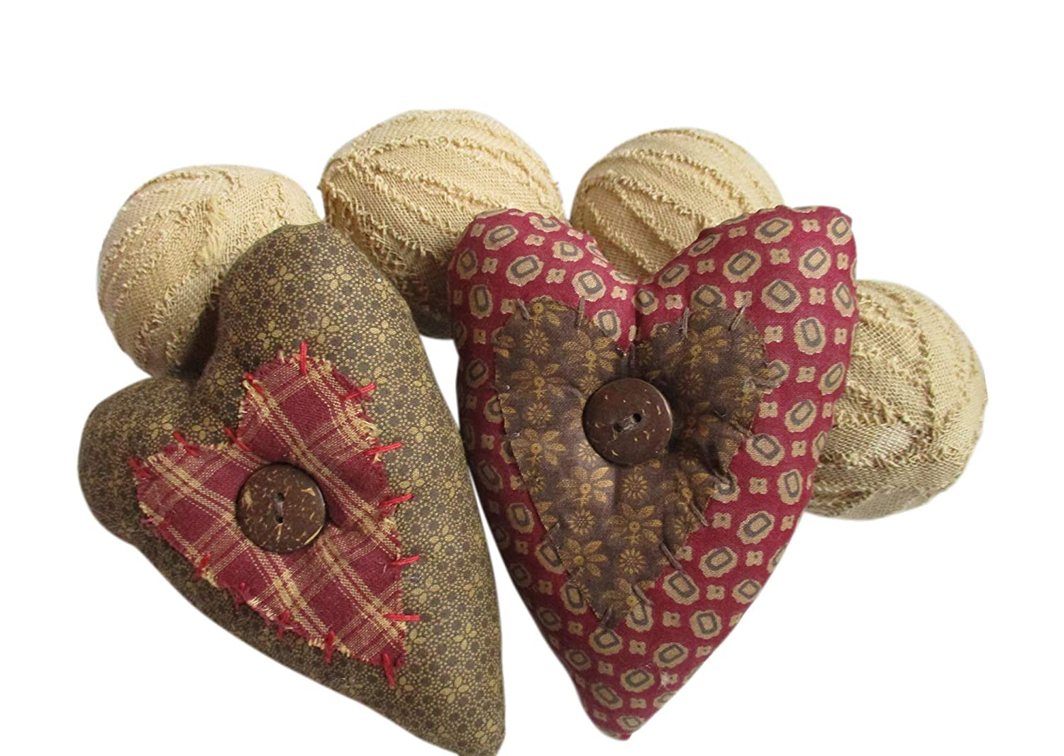 From The Attic Crafts Hearts and Burlap Balls Bowl Filler Primitive Bowl Fillers Set of 6