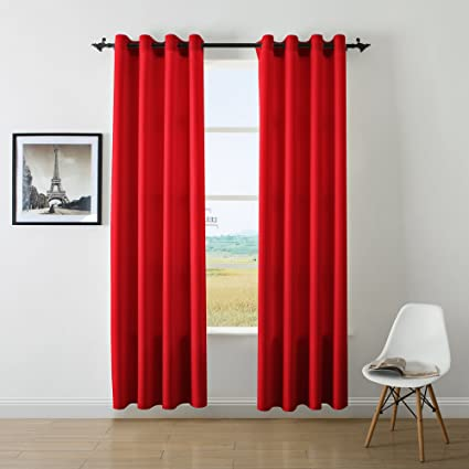 DWCN Red Curtains Faux Linen For Bedroom Top Grommets Window Draperies Curtain Panel 52x95 Inch
