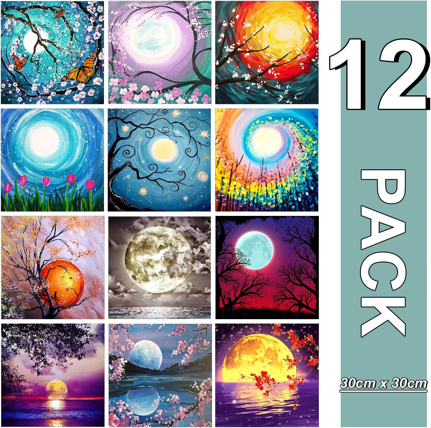Canvas 12X12In XPCARE 12 Pack 5d Diamond Painting Kits Full Drill Rhinestone Moon Diamond Pictures for Home Wall Decor