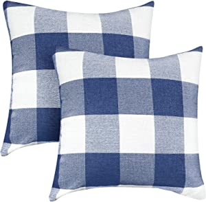 VIS'V Buffalo Check Plaid Throw Pillow Covers, Set of 2 Cotton Linen Square Farmhouse Decorative Couch Pillow Covers 18 x 18 Inch Checkered Cushion Covers for Porch Farmhouse Decor - Blue and White