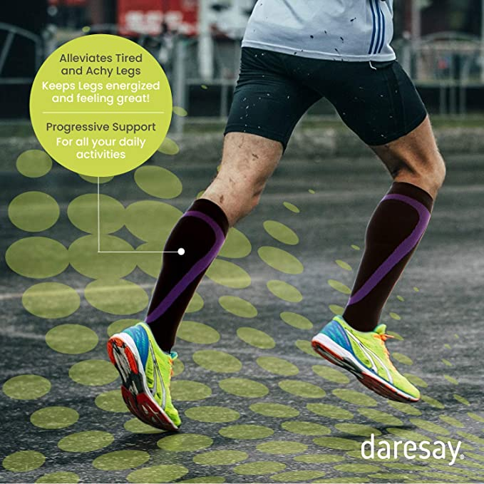 6-Pack Daresay Unisex Knee High Athletic Compression Socks Men Women 15-20 mmHg Circulation and Recovery