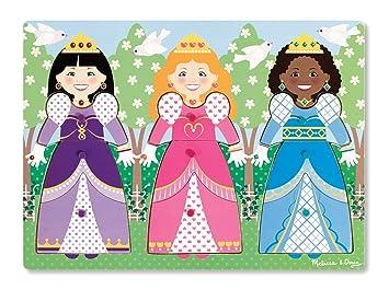 Melissa Doug Princesses Dress Up Wooden Peg Puzzle 9 Pcs