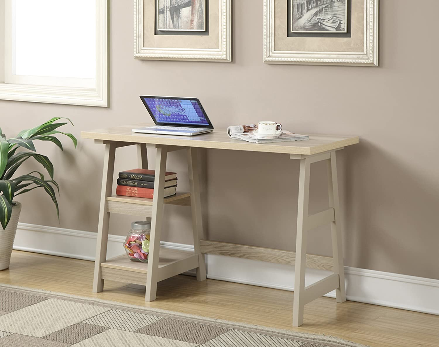 Amazon.com: Convenience Concepts Designs2Go Trestle Desk, Weathered White:  Kitchen U0026 Dining