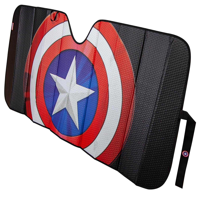 Plasticolor 003830R01 Marvel Captain America Shield Logo Black Matte Finish Car Truck or SUV Front Windshield Sunshade