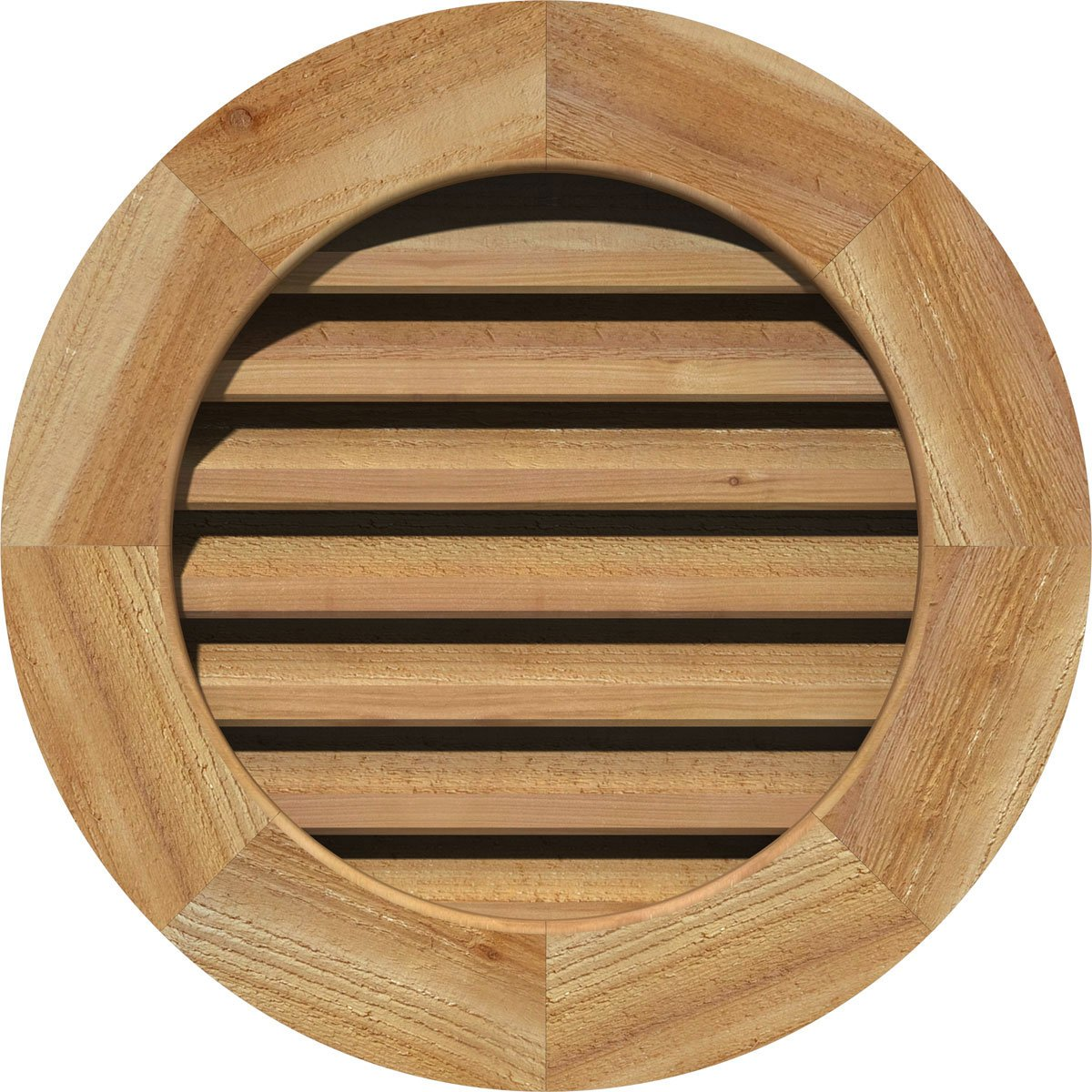 Ekena Millwork GVWRO18X1802SDUWR Unfinished Decorative Smooth Western Red Cedar 18 Width x 18 Height Round Gable Vent with Decorative Face Frame