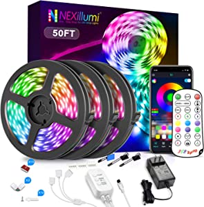 Nexillumi 50ft LED Strip Lights with IR Remote Ultra-Long LED Lights for Bedroom, Dorm, Room Decor App Control Music Sync LED Lights with Connectors (50Ft APP+ Remote+ Mic Control+ 3-Button Switch)