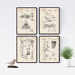Nacnic Prints Vintage Patent Children Play Toys - Set of 4 - Unframed 8x11 inch Size - 250g Paper - Beautiful Poster Painting for Home Office Living Room