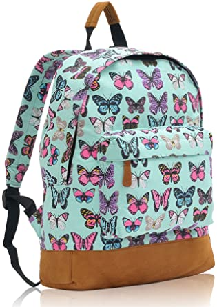 Kukubird Multi Rucksack Butterfly Design Single Pocket Backpack - BUTTERFLY MINT GREEN