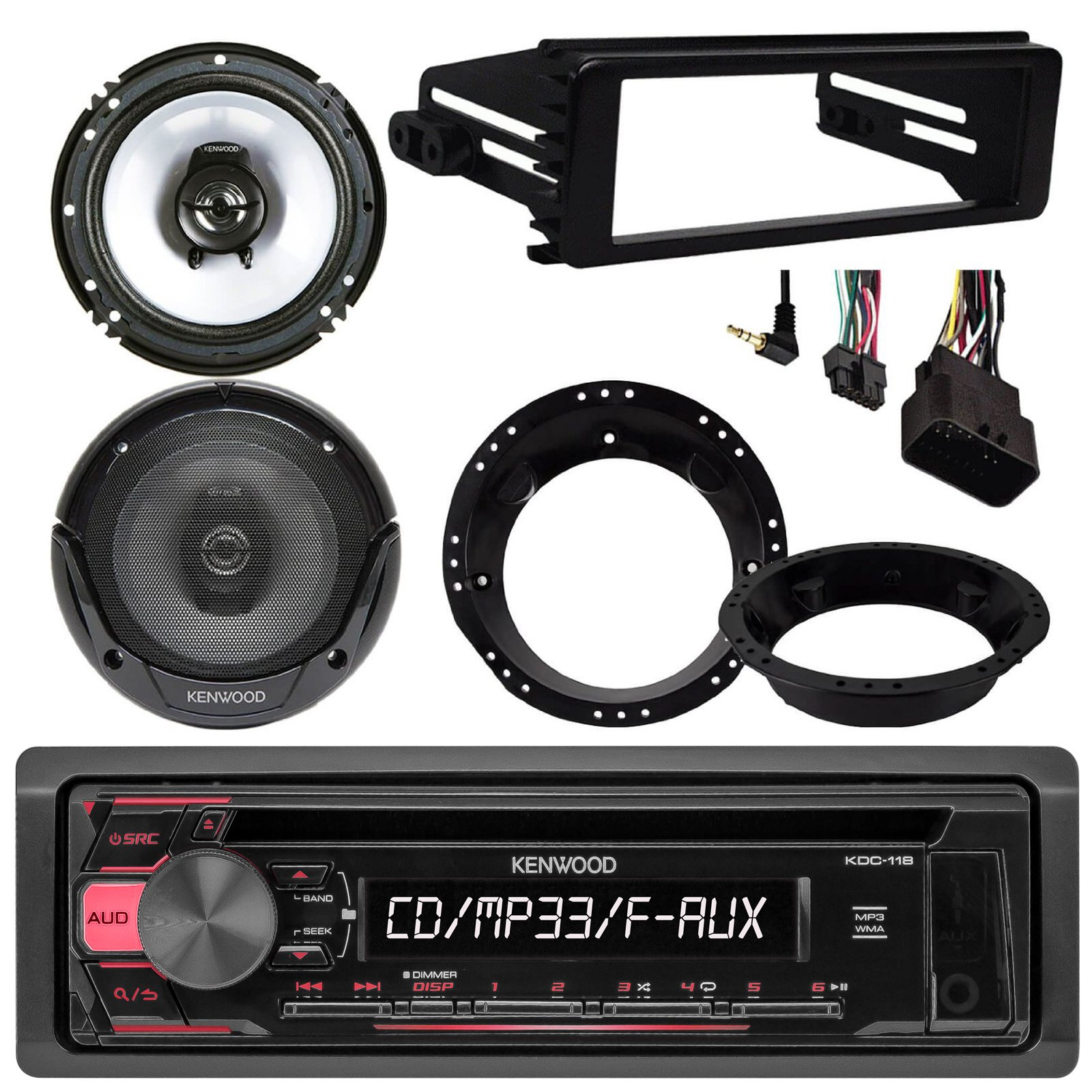 Kenwood KDC118 CD Stereo Audio Receiver - Bundle Combo With 2x Kenwood 6.5'' Inch Black Coaxial Speakers W/ Adapter Brackets, Radio Dash Kit For 1998-2013 Harley Motorcycle Bikes