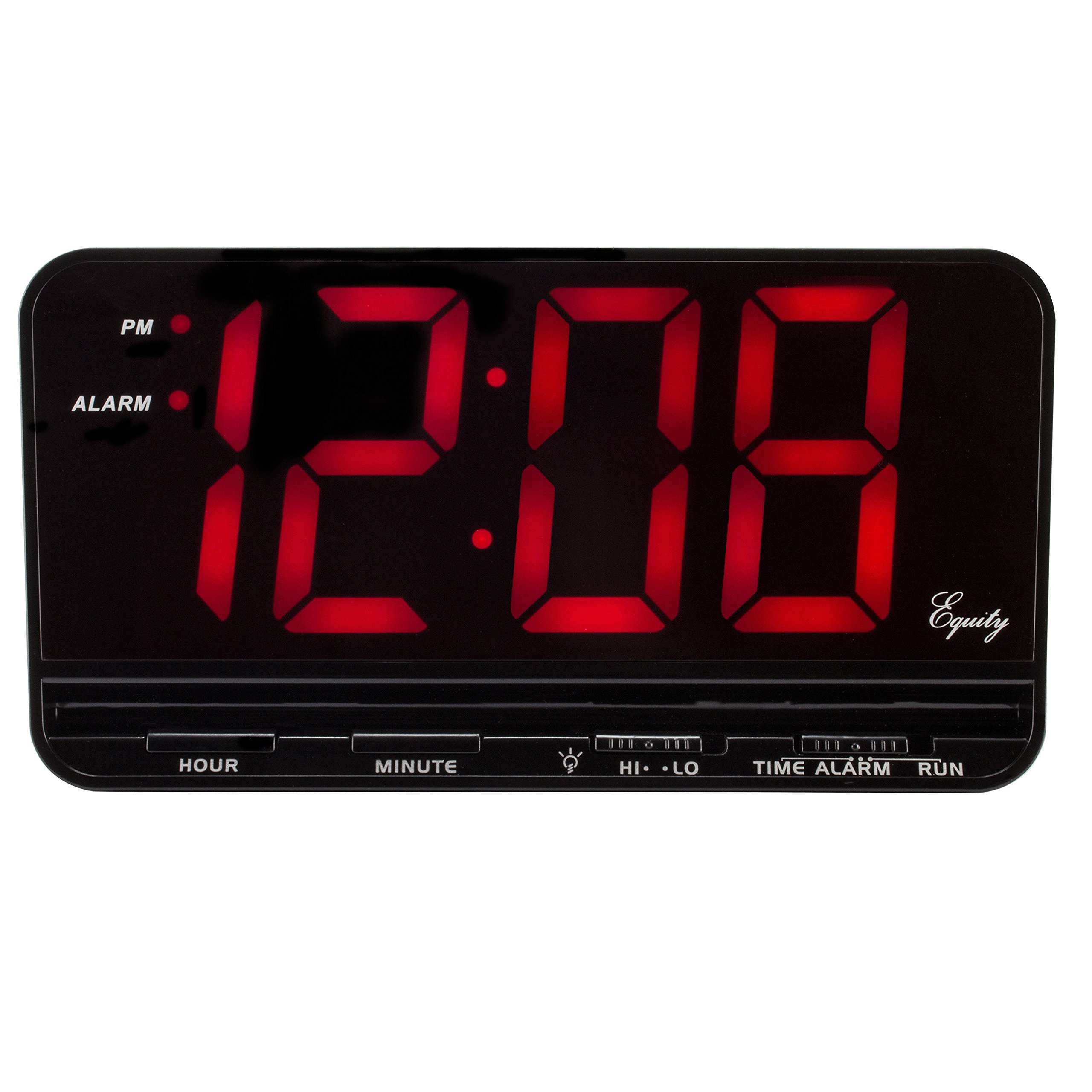Equity by La Crosse 30401 3'' Red LED Electric Alarm Clock, X-Large