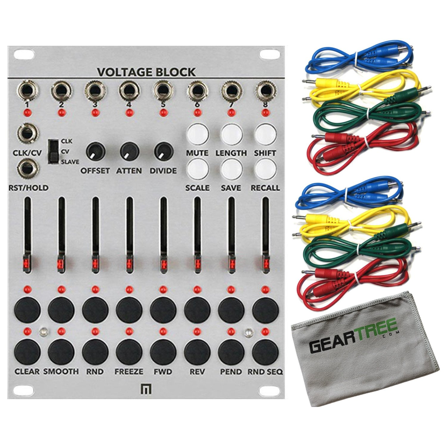 Malekko Voltage Block 8-CHANNEL 16-STAGE CV SEQUENCER w/Geartree Cloth and 8 Ca