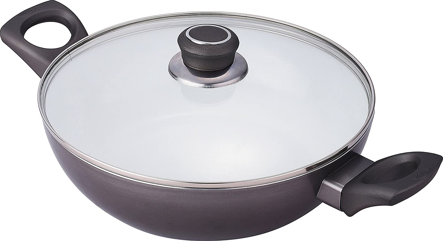 Bergner Simplicia Ø 24cm Ceramic Coated Wok / Deep Stir-Fry Pan with Glass Lid, Induction Base, and Two Handles - BG-6651