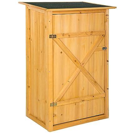 TecTake Caseta de exterior Armario de madera de jardín para herramientas cobertizo con tejado plano |