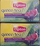 Lipton Tea Bags Green Tea Decaffeinated, (Pack of 2) Superfruit Blackberry and Pomegranate, 20 Count Package.