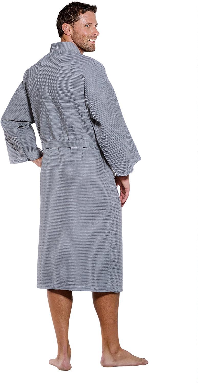 Turquaz Linen Lightweight Long Waffle Kimono Spa Robe for Men