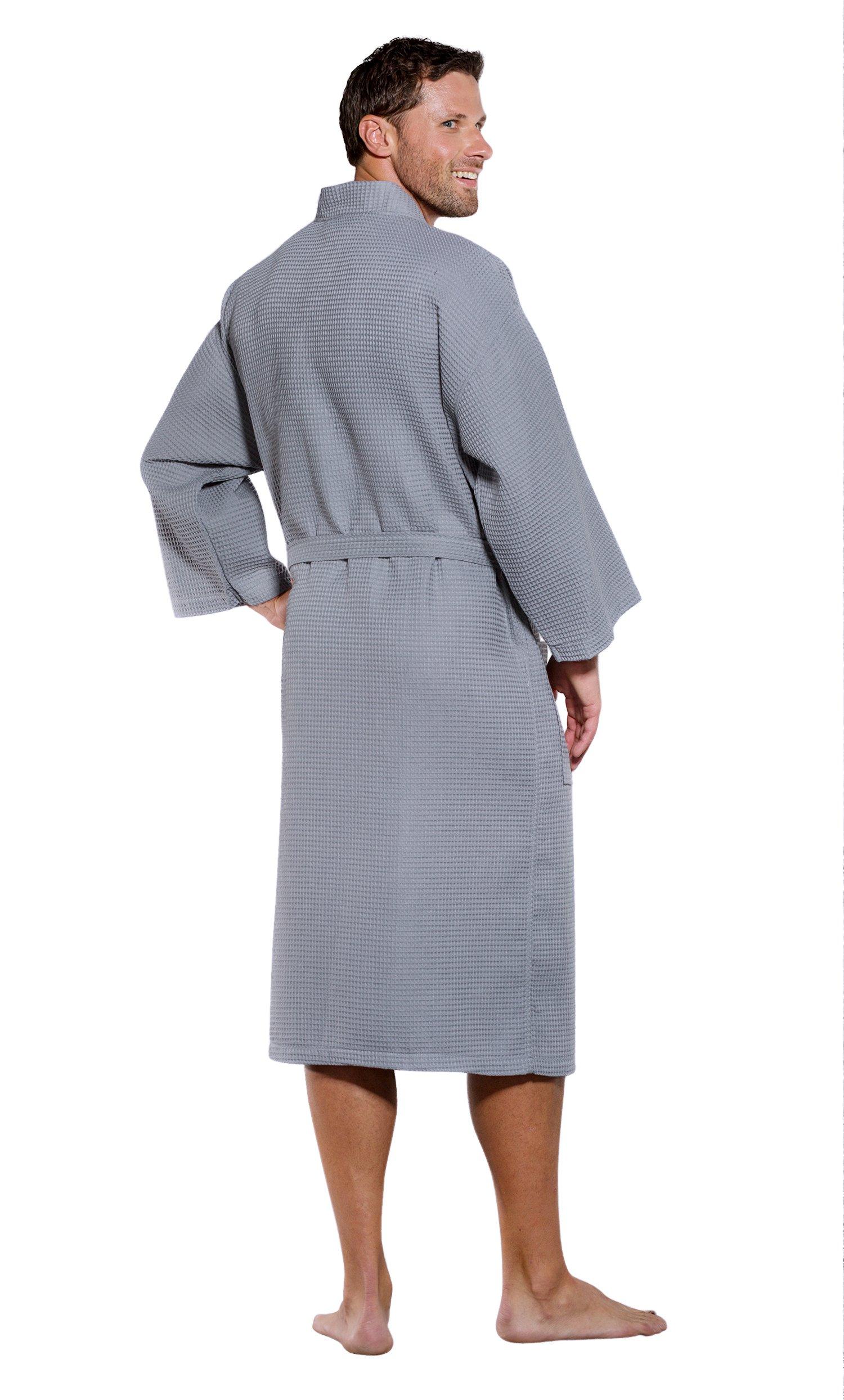 Turquaz Linen Lightweight Long Waffle Kimono Unisex Spa Robe (XXL ... 240e20517