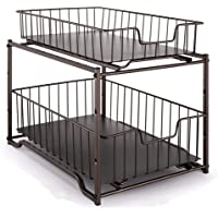Simple Trending Stackable 2-Tier Spice Rack Kitchen Organizer Cabinet Storage with Sliding Storage Drawer, Bronze